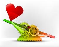Corazón rojo en zona verde en vector del concepto de la máquina del oscilación libre illustration