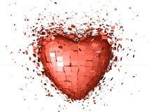 Corazón rojo explosivo Fotografía de archivo