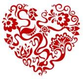 Corazón rojo floral de la tarjeta del día de San Valentín Ilustración del Vector