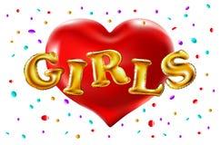 Corazón rojo Globos de las muchachas que celebran en el partido Globos hermosos en confeti que lanza de oro brillante, divirtiénd Imagen de archivo libre de regalías
