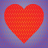 Corazón rojo grande hecho de pequeños corazones en un fondo azul de pequeños corazones Fotos de archivo