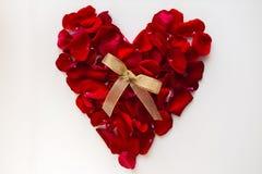 Corazón rojo hecho de pétalos color de rosa Fotografía de archivo libre de regalías