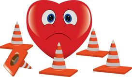 Corazón rojo infeliz y pegado rodeado por los conos del camino Imágenes de archivo libres de regalías