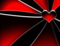 Corazón rojo, líneas que brillan intensamente Fotografía de archivo libre de regalías