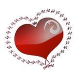 Corazón rojo, modelo adornado Rose roja Imágenes de archivo libres de regalías