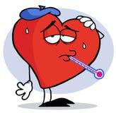 Corazón rojo montado gripe Imagen de archivo