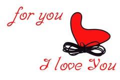 Corazón rojo para usted te amo Fotos de archivo