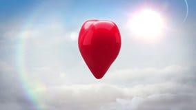 Corazón rojo que da la vuelta y que estalla el cielo azul stock de ilustración