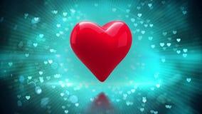 Corazón rojo que da vuelta al fondo encendido que brilla ilustración del vector