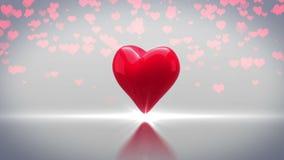 Corazón rojo que da vuelta y que estalla en fondo gris ilustración del vector