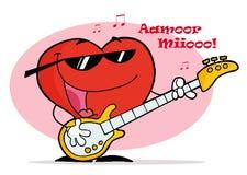 Corazón rojo que toca una guitarra con las notas musicales Foto de archivo libre de regalías