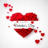 Corazón rojo - símbolo del amor Confeti de los corazones Tarjeta o bandera del día de tarjetas del día de San Valentín del santo  Imagen de archivo