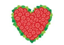 Corazón rojo y blanco de las rosas Foto de archivo libre de regalías