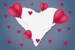 Corazón rojo y blanco en un fondo azul Concepto feliz del día del ` s de la tarjeta del día de San Valentín holidays stock de ilustración