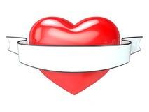 Corazón rojo y cinta blanca, en blanco tatuaje 3D Imagen de archivo