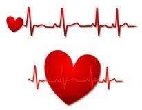 Corazón rojo y líneas de EKG Imágenes de archivo libres de regalías