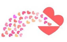 Corazón rojo y pequeños corazones coloreados Imagen de archivo