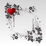 Corazón rojo y vides y hojas negras Foto de archivo