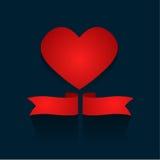 Corazón romántico del rojo del concepto del día de tarjetas del día de San Valentín Fotografía de archivo