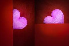 Corazón rosado con el espacio en blanco del fondo rojo por un día de tarjeta del día de San Valentín Fotos de archivo libres de regalías