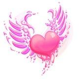 Corazón rosado con las alas Imagenes de archivo