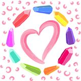 Corazón rosado de la acuarela dentro de una guirnalda de cristales coloridos stock de ilustración