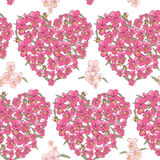 Corazón rosado de pensamientos en un fondo blanco Fondo inconsútil Foto de archivo