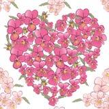 Corazón rosado de pensamientos en un fondo blanco Fondo inconsútil Imagenes de archivo