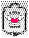 Corazón rosado en marco. Vector Fotos de archivo