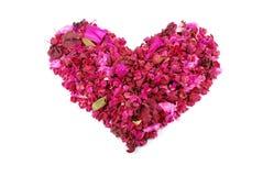 Corazón rosado hecho del día de tarjeta del día de San Valentín secada de las flores Foto de archivo libre de regalías