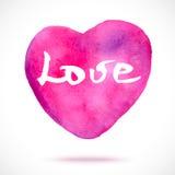 Corazón rosado pintado a mano de la acuarela Foto de archivo libre de regalías