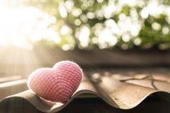 Corazón rosado que hace punto en el tejado Fotografía de archivo libre de regalías