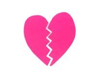 Corazón rosado quebrado Fotografía de archivo