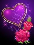 Corazón, rosas y estrellas Fotos de archivo