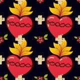 Corazón sagrado, cruz, estilo del tatuaje del schooll del modelo inconsútil de la rosa viejo stock de ilustración