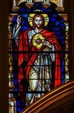 Corazón sagrado de Jesus Christ - vitral foto de archivo libre de regalías