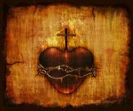 Corazón sagrado en el pergamino Imagen de archivo libre de regalías