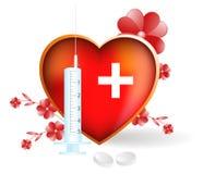 Corazón sano. Icono médico brillante. Foto de archivo libre de regalías