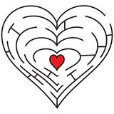Corazón simbólico del laberinto Fotos de archivo