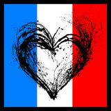 Corazón simbólico en los colores de la bandera francesa Imagen de archivo libre de regalías