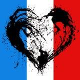 Corazón simbólico en los colores de la bandera francesa Foto de archivo libre de regalías