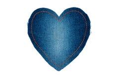 Corazón simbólico hecho de los vaqueros para su del texto Foto de archivo
