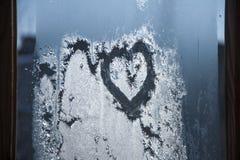 Corazón sobre del vidrio Imagenes de archivo