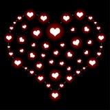 Corazón sobre negro Imagenes de archivo