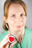 Corazón Stethescope con el camino de recortes Fotografía de archivo