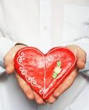 Corazón/tarjeta del día de San Valentín del pan de jengibre Fotografía de archivo libre de regalías