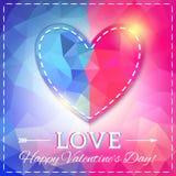 Corazón. Tarjeta del día de tarjeta del día de San Valentín en estilo poligonal Fotografía de archivo