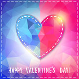 Corazón. Tarjeta feliz del día de tarjeta del día de San Valentín en estilo poligonal. Plantilla f Fotografía de archivo libre de regalías