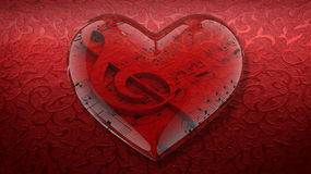 Corazón transparente con la clave de sol y la partitura en fondo rojo Foto de archivo