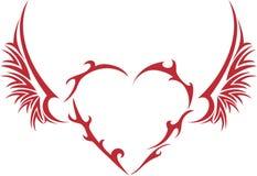 Corazón tribal con las alas Fotos de archivo libres de regalías